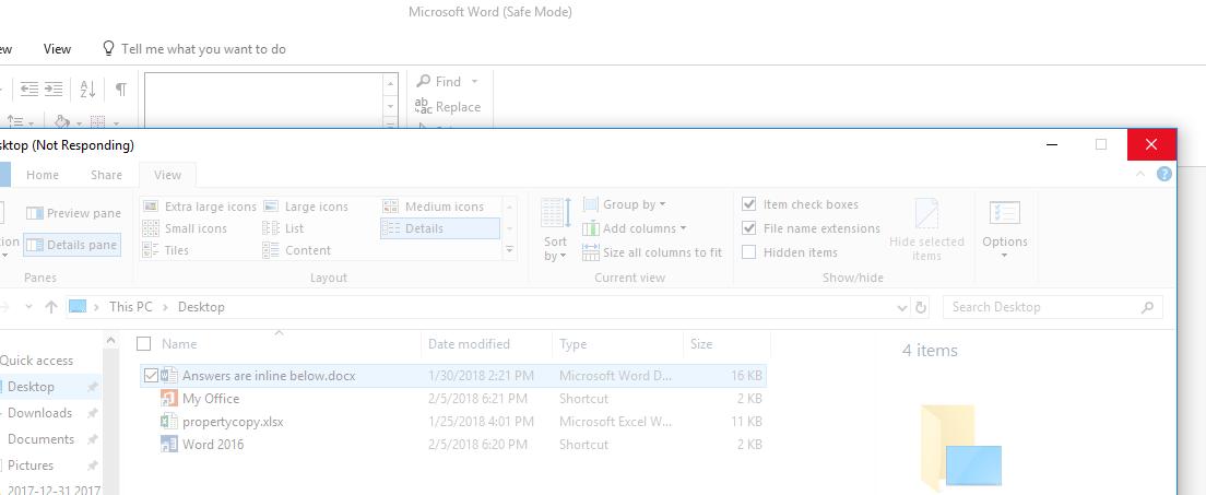 File Explorer crashing when trying to show