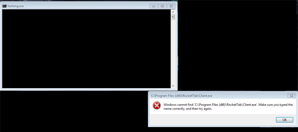 RocketTab and taskeng Error Message - Microsoft Community