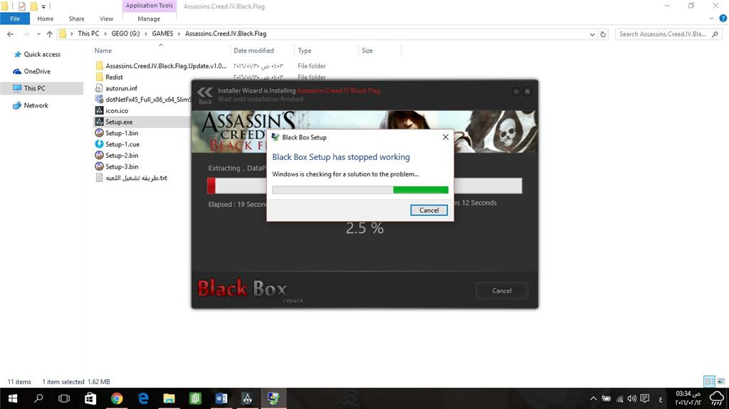 Unable to install games that have blackbox repack setup
