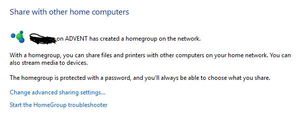 homegroup password not showing windows 10