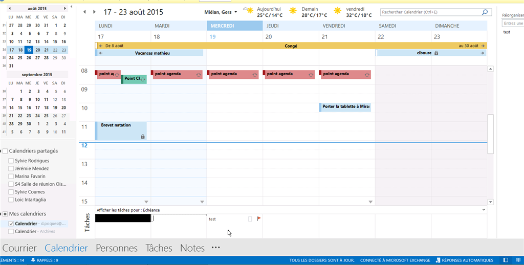 Affichage Calendrier Outlook.Probleme D Affichage Dans Calendrier Outlook 2013