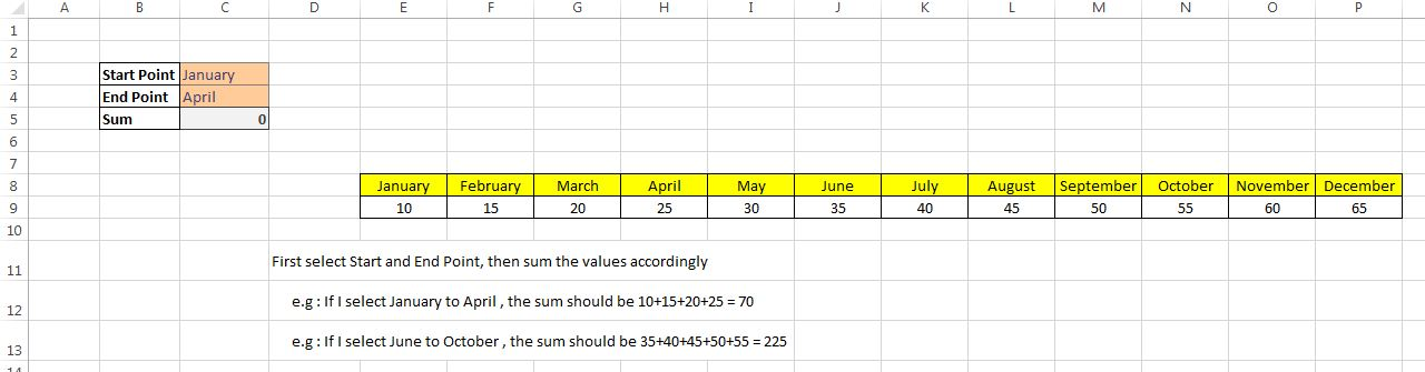 Formula for adding values in a single row between two header