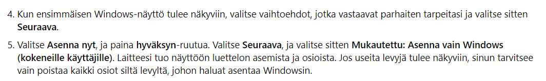 Windowsin Asennus