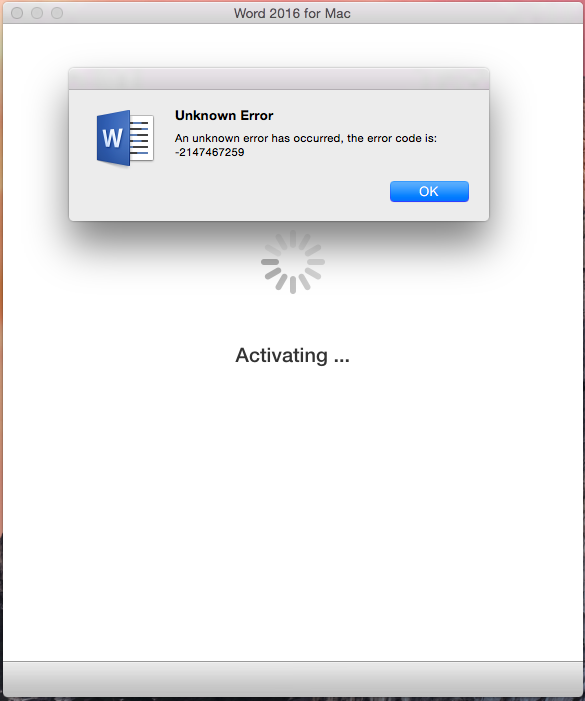 Error message when activating Office 365 for mac - Microsoft