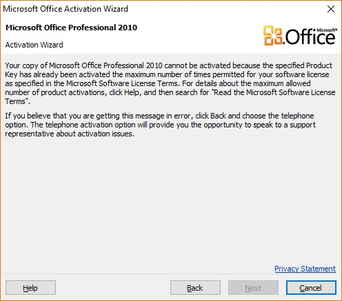 microsoft office product key has been used