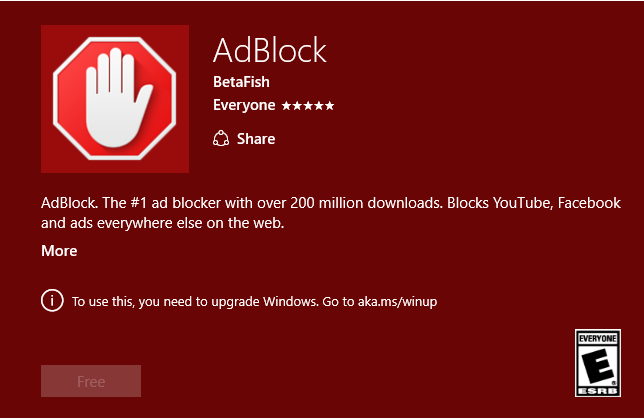 cannot install adblock on edge