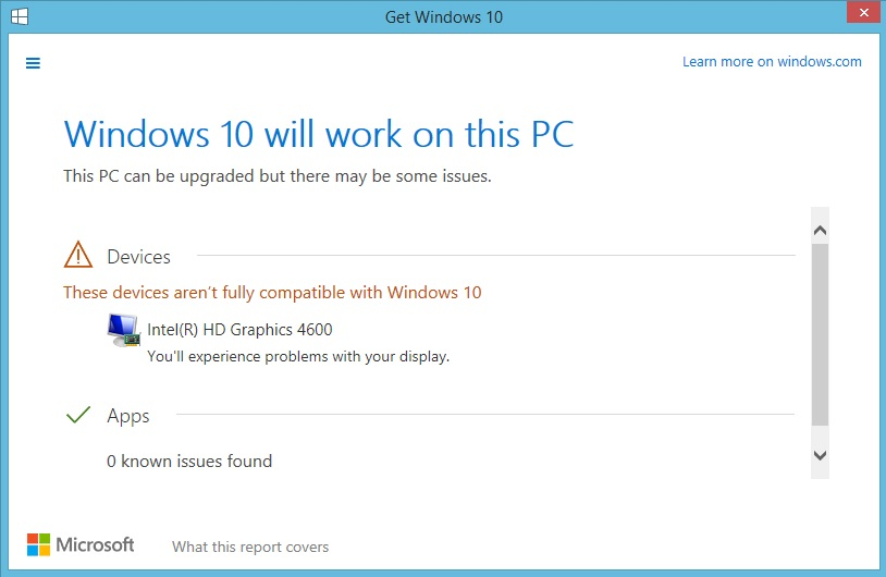 Windows 10 compatibility error with Intel(R) HD Graphics - Microsoft