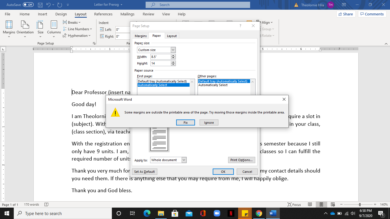 How to change in legal size Word for Windows   Microsoft Community