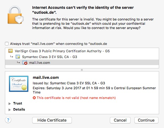 Hostname for outlook on mac mac