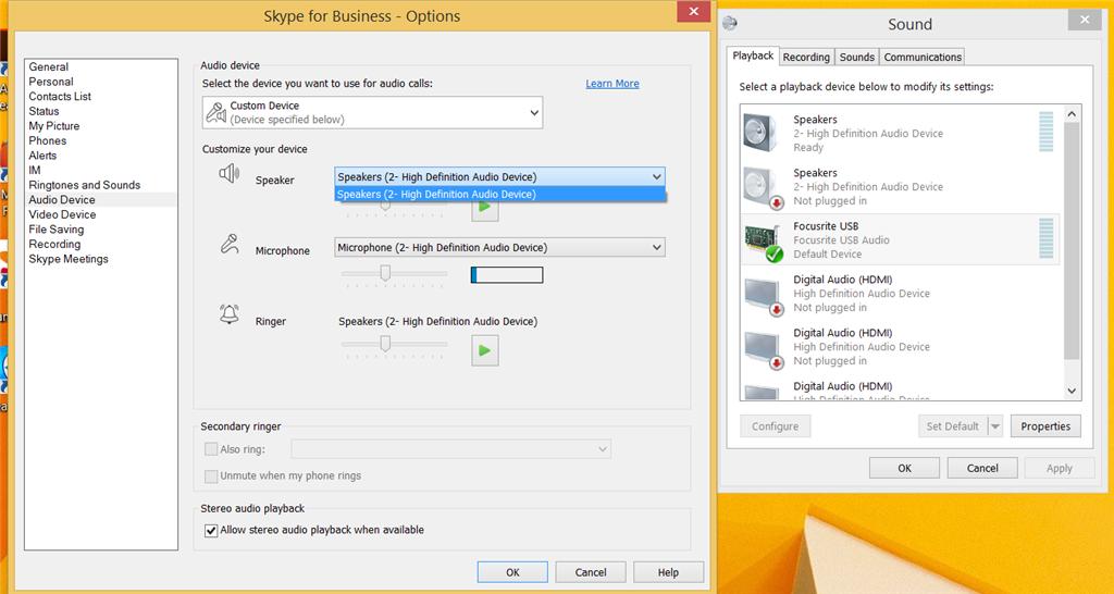Skype for Business 2016 USB audio issue - Microsoft Community