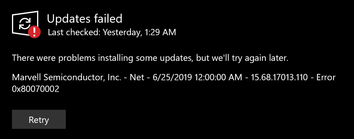 marvell avastar issue after 31 July update on surface book 2