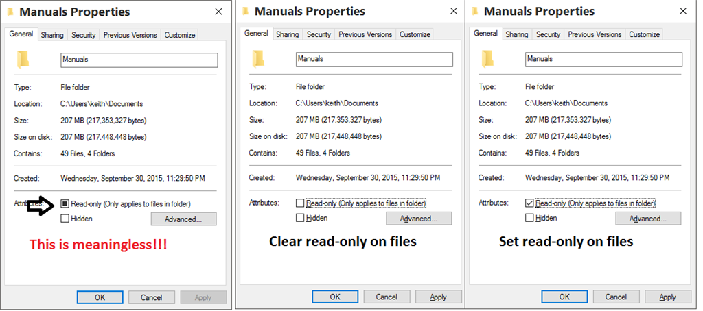 Cannot change files/folders from
