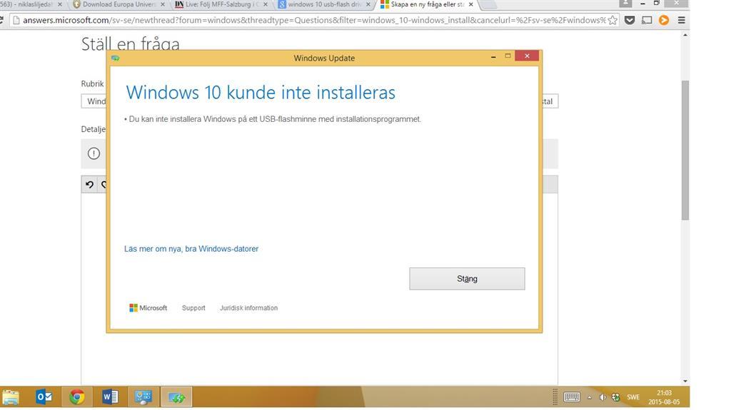 Windows 10 Uppgradering Från Windows 81 Pro Felmeddelande