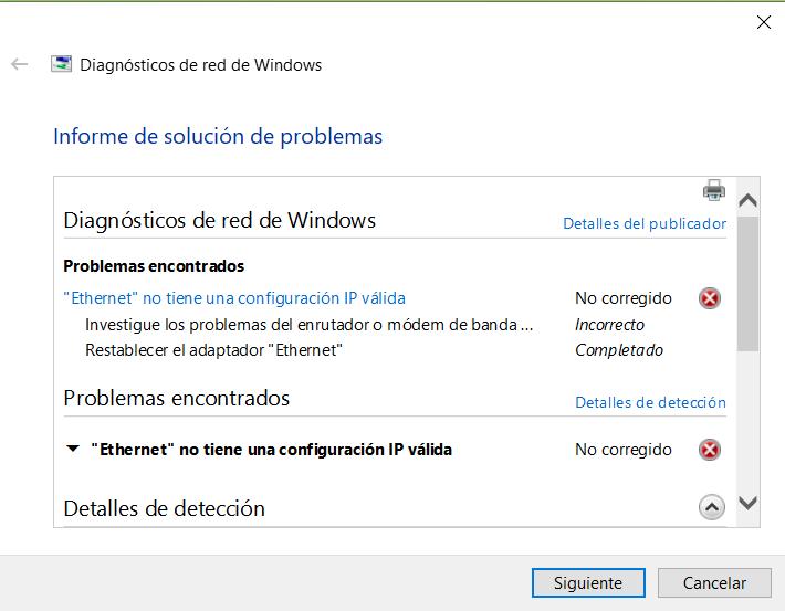 Windows 10 - Ethernet no tiene una configuración de IP