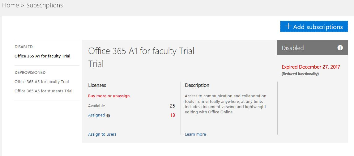 Help getting Office 365 A1 for Faculty working - Non trial