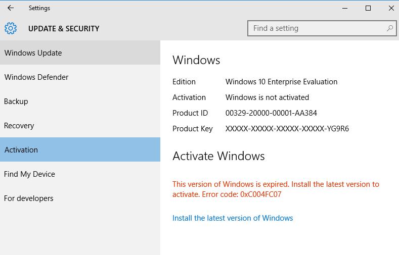 key for windows 10 enterprise evaluation