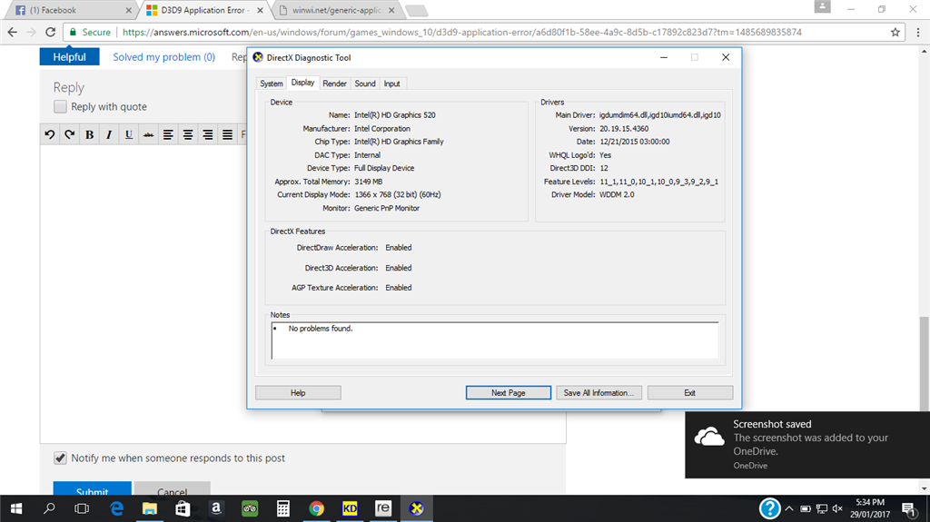 Run directx diagnostic tool: troubleshoot directx problems.