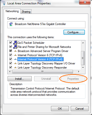 Windows 7 64-bit OS : TCP/IP Properties button disabled - Microsoft