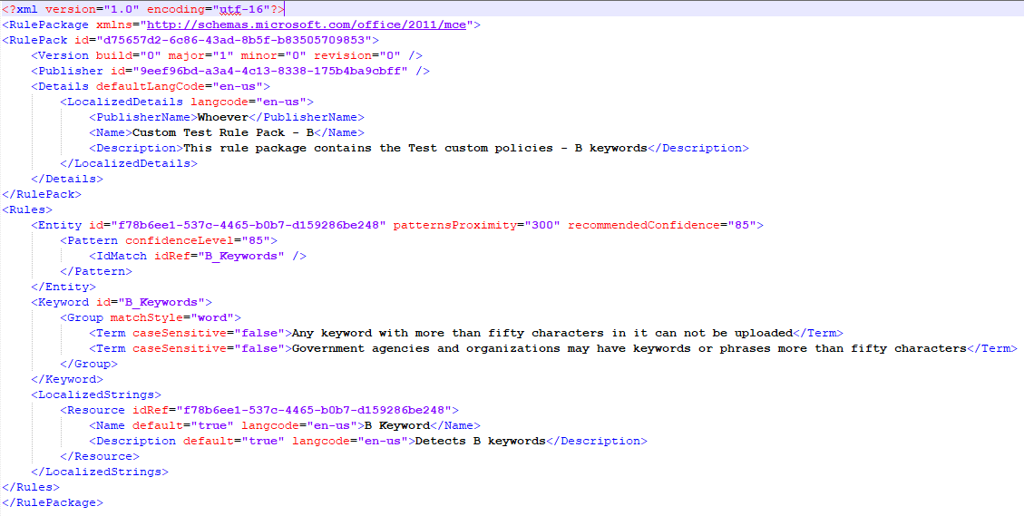 50 character limit for custom sensitive information types o365 dlp