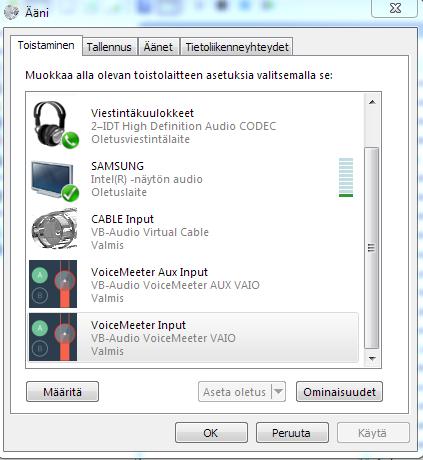 Win 7 Pro 64-bit default audio source locked, Voicemeeter