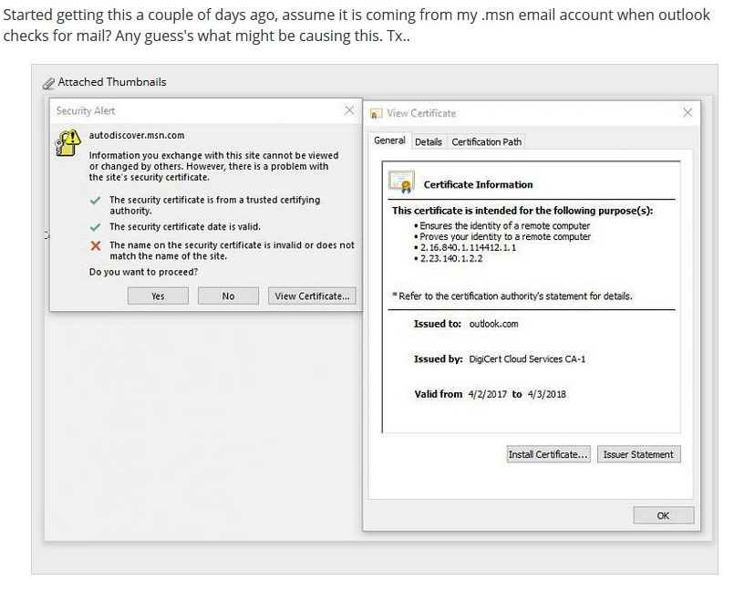 Outlook 2010 The Name On The Security Certificate Is Invalid Or