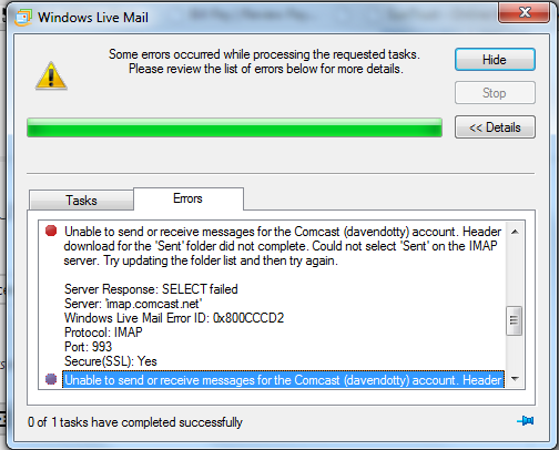 Windows live mail 2012 sends mail but stays in outbox - with errors