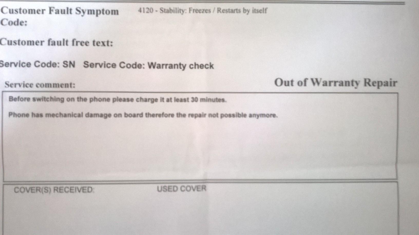 B2X Lumia 950 / B2X Reparatur / Keine Umtausch trotz Garantie /