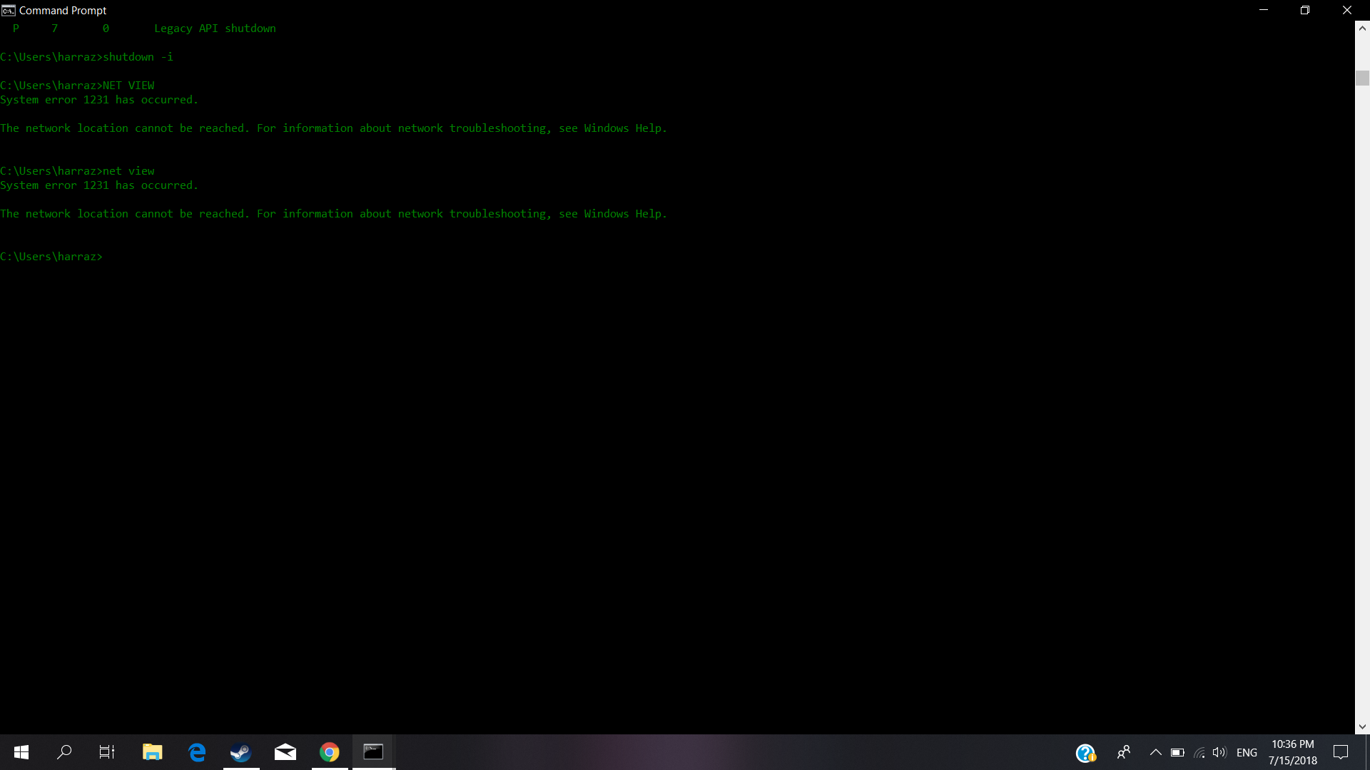 command prompt error 1231 (windows 10) need help microsofthow do you fix the problem for net view command in windows 10 cmd?