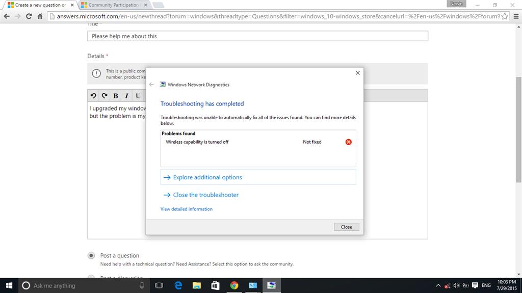 Turn On My Wi Fi >> Windows 10 Wireless Capability Is Turn Off Microsoft Community