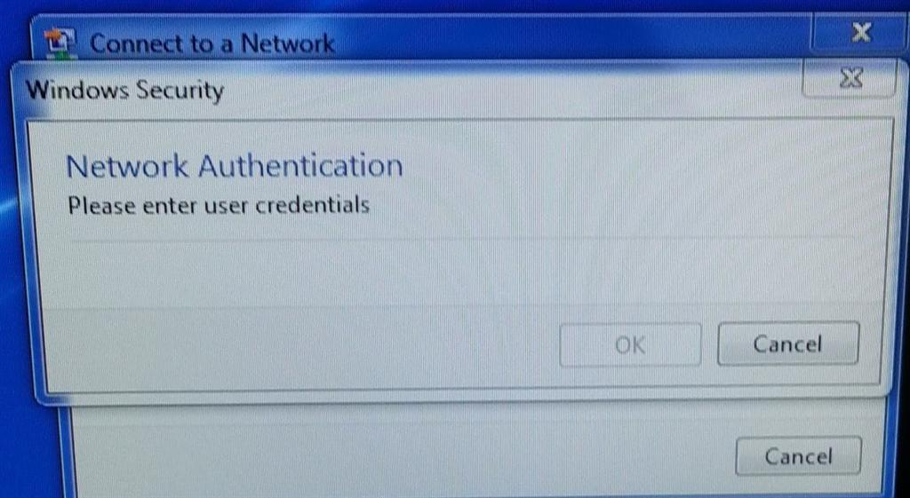Windows Security Network Authentication no fields to enter