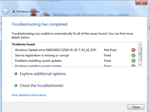 Windows Vista  Update Error Code 80072EFE