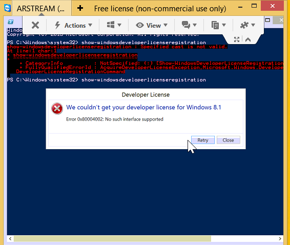 Getting Error Message We Couldnt Get Your Developer License For Microsoft Community