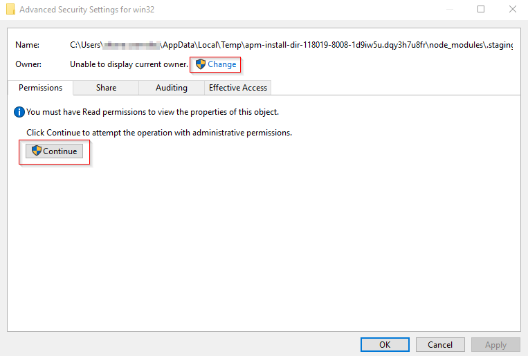 appdata local temp folder is not accessible