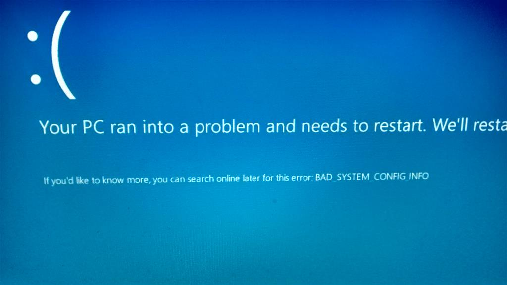 microsoft windows stop code bad system config info