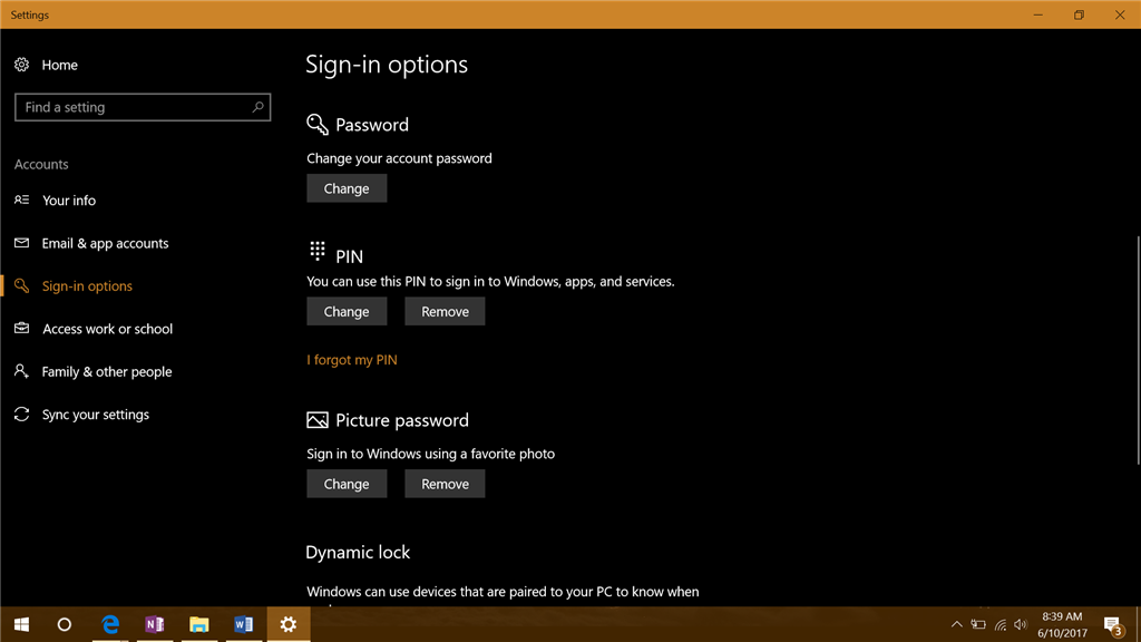how to change password screen on windows 10