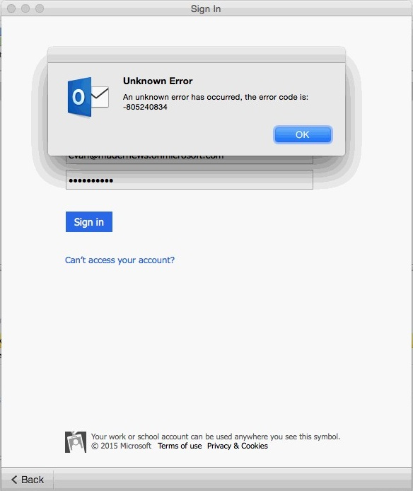 Error -805240834, Outlook for mac version 15 3 requires to