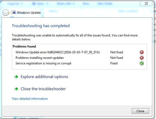 windows 7 windows update troubleshooter service registration is missing or corrupt