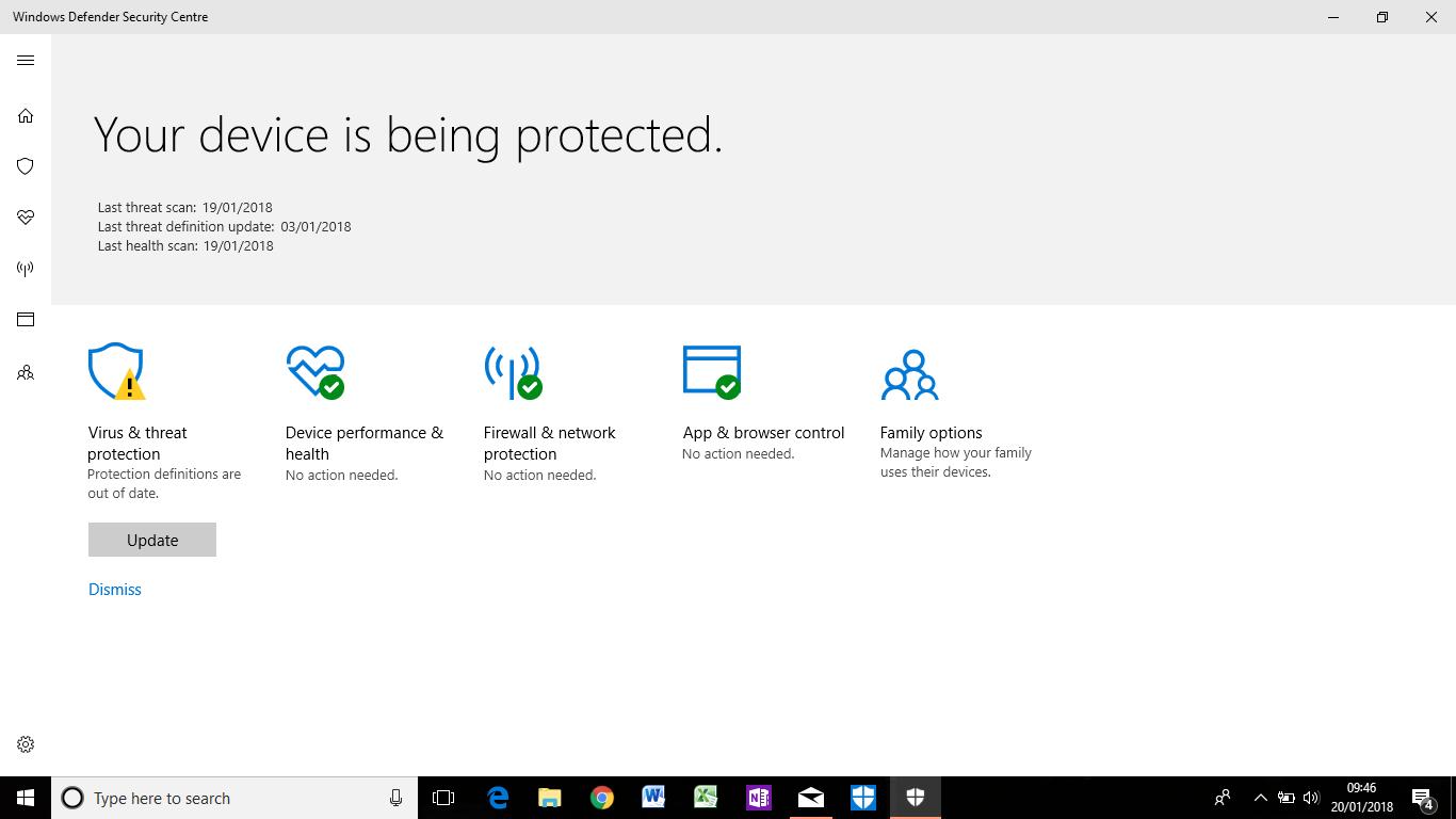 cant update avg virus definitions