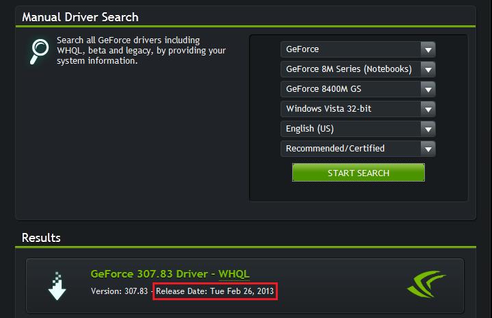 nvidia geforce 9300m gs driver windows 7 32 bit