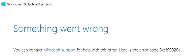 error code 0xC190020E: when installing update - Feature