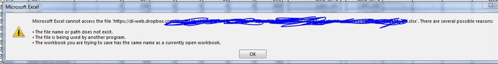 Excel 2013 Error: