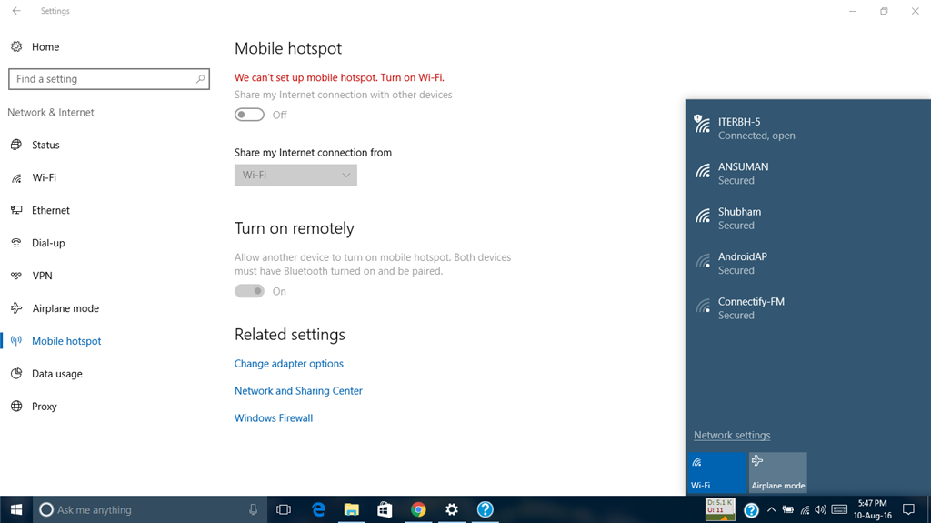 Problem in Mobile Hotspot in Windows10 anniversary update
