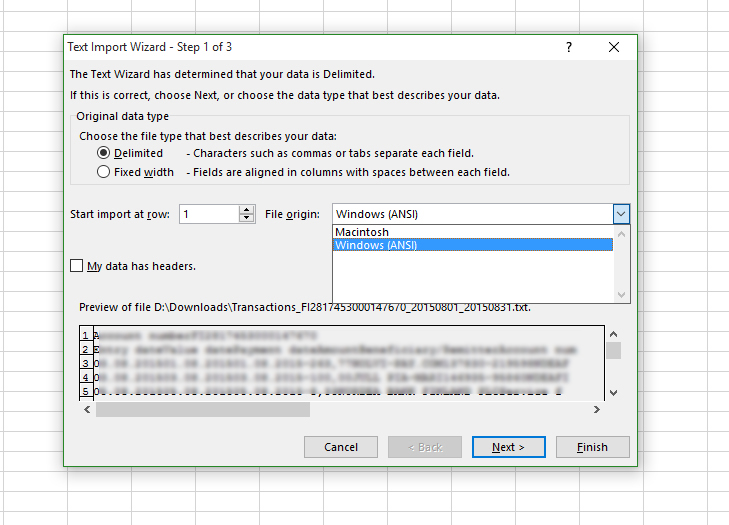 however this installation of excel now only has two file origin options windows ansi and mac importing as either of those scramble the nordic characters