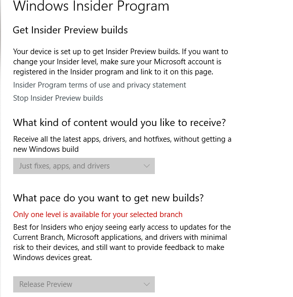 I can't change windows insider settings after resetting windows