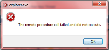 Message: The Remote procedure call failed and did not execute