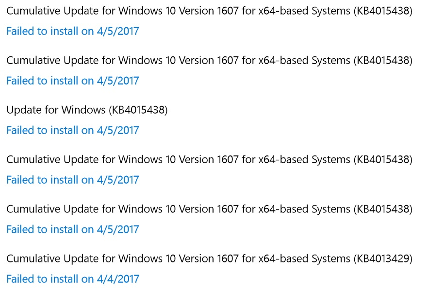 Windows 10 Cumulative Update Fails to Install after applying