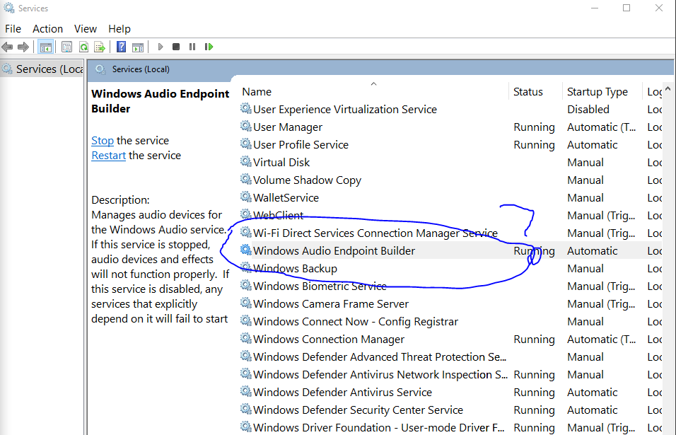 Windows 10 The Audio Service is not running and probably