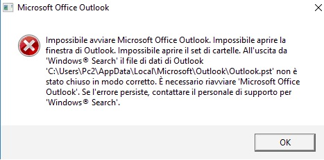 impossible to open microsoft outlook
