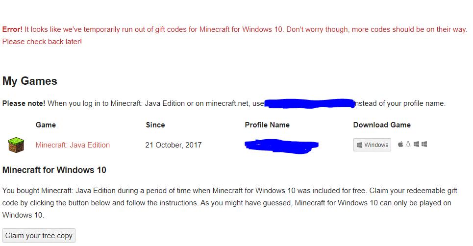 Redeeming Free Minecraft Windows 10 Code From My Mojang Account Microsoft Community