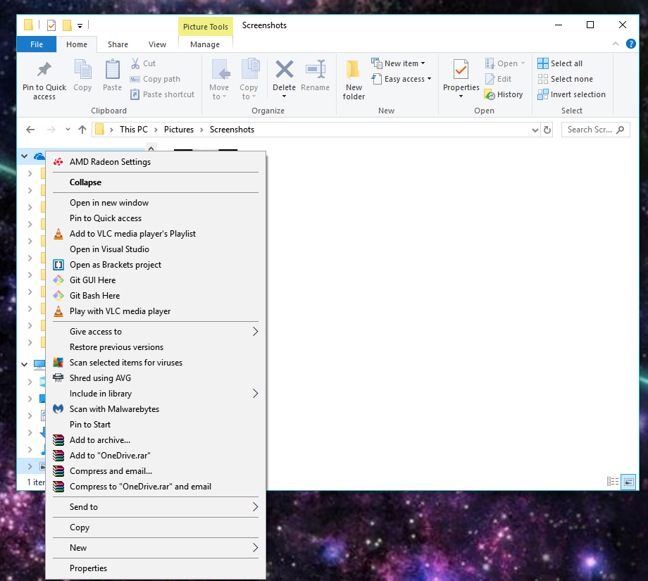 When i right click OneDrive, there is no setting option